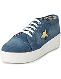 6d61411bf2f Walktoe Revoke Denim High Heel Casual Gold Star Sneaker Shoes for Women  Girls