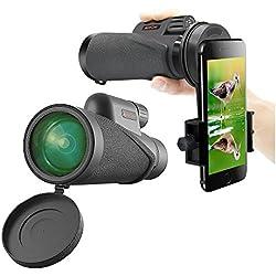 Telescopio Monocular, MeeQee 10×42 Portátil HD BAK4 Prism Telescope óptico con Universal Soporte para Teléfono Móvil, Amplio campo e impermeable-ideal para Observación de Aves / Caza / Tiro con arco / al aire libre