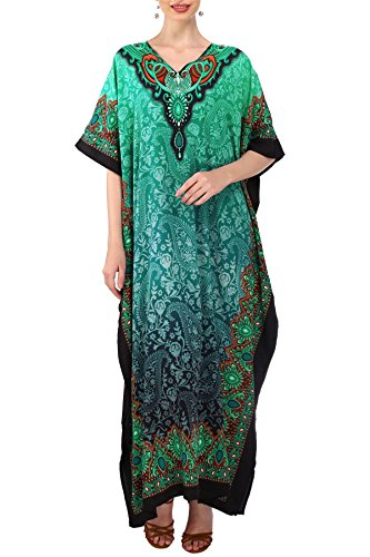 Miss Lavish London mujeres caftán de Londres túnica kimono libre tamaño largo vestido de fiesta para loungewear vacaciones ropa de dormir playa todos los días cubrir vestidos #101 [Teal EU 38-44]