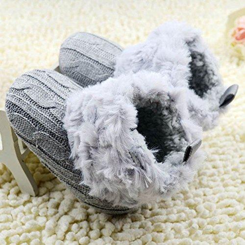 Scooties Monate Baby Fleece Winter Schuhe Krippe Jungen Weich 18 Unisex 0 Booties Grau Knit M盲dchen Schneeschuhe Ydw6nxC