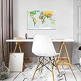 FORWALL Glasbild Glasfoto Echtglas Wandbild Physische Weltkarte G3 (60cm. x 40cm.) AMFGT20263G3 Weltkarte Landkarte Welt Afrika Landkarte Europa