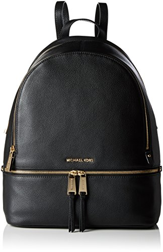 Michael Kors Damen Rhea Zip Lg Backpack Rucksackhandtasche, Schwarz (Black), 15x35x30 centimeters