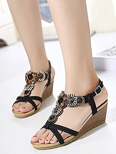 YOUJIA Frauen Casual Peep-Toe Schnalle Schuhe Römische Sandalen Mit Keilabsatz Schwarz