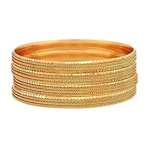 Zeneme Gold-Plated Bangle Set For Women & Girls (2.4)