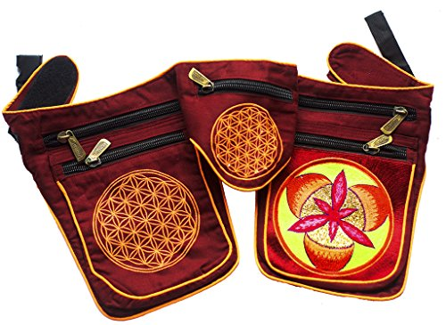 Fire Mandala Gürteltasche (Blume des Lebens, Schwarzlicht aktiv, 7 Taschen, davon 5 mit hochqualitativem Zip Lock) goa beltbag psychedelic Umhängetasche fire flower red ()