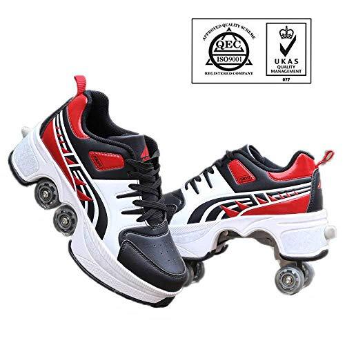 WERTYUH Roller Skates Multifunktionale Deformation Schuhe Quad Skate Rollschuhe Skating Outdoor Sportschuhe Für Erwachsene,Redblack-36