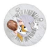 Fyore Kuschelige Hase Rund Krabbeldecke Gepolstert Spielmatte Groß Baumwolle Kinderteppich Babyzimmer Dekoration 90cm (Lion)