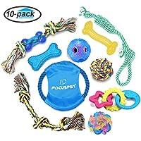 Hund Kauspielzeug, Focuspet Haustier Hundespielzeuge Set aus Baumwolle Seil u. Silikon Spielzeug Intelligenzspielzeug Für Kleine Bis Mittlere Hunde Packung mit 10 Stücke