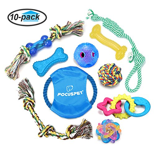 Focuspet Hund Kauspielzeug, Haustier Hundespielzeuge Set aus Baumwolle Seil u. Silikon Spielzeug Intelligenzspielzeug Für Kleine Bis Mittlere Hunde Packung mit 10 Stücke