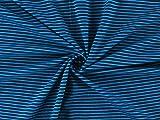 Jerseystoff gestreift dunkelblau-türkis | 1,55 Meter breit
