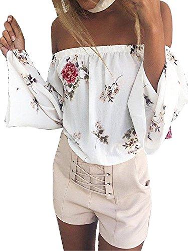 ShallGood Donna Stampa Spalle Scoperte Manica Lunga Camicetta Scollo a  Barca Crop Top Blusa Camicia Primavera