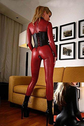 Xl Europäischen und Amerikanischen Dessous, Lackleder Stück Anzüge, Kleider Frauen Ds Spiel Kleidung,Rot,XXXXL (Spielen Kleid-leggings)