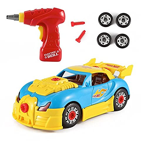 Vinsani Racing Car Take-A-Part Toy for Kids with 30 Take Apart Pieces, Tool Drill, Lights and