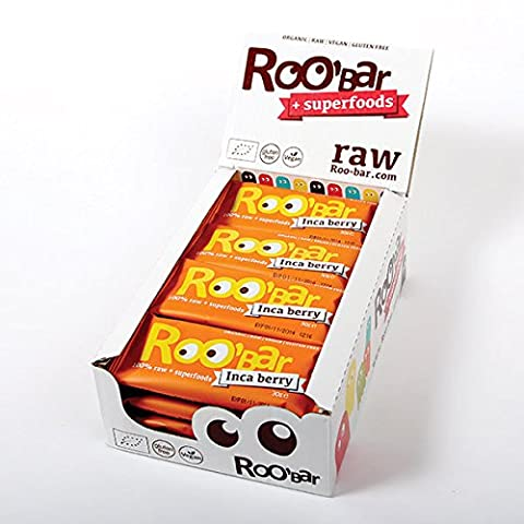 ROO'BAR Inca Berry - 20 bars (20x 30g) - Raw Superfood Bar (organic, vegan, glutenfree, raw)