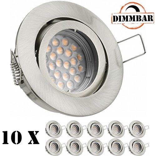 10er LED Einbaustrahler Set mit LED GU10 Markenstrahler - dimmbar - von LEDANDO - 5W - schwenkbar - warmweiss - 60° Abstrahlwinkel - A+ - 50W Ersatz - silber gebürstet