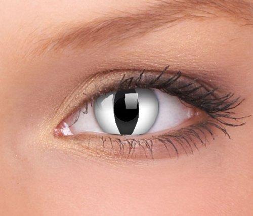 Eye Effect Kontaktlinsen linsen farbige weiss schwarz vampir dämon katze halloween kostüme neu von Cookelani