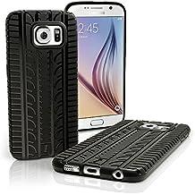 igadgitz Negro Neumático Gel TPU Funda Carcasa per Samsung Galaxy S6 SM-G920 Case Cover + Protector Pantalla
