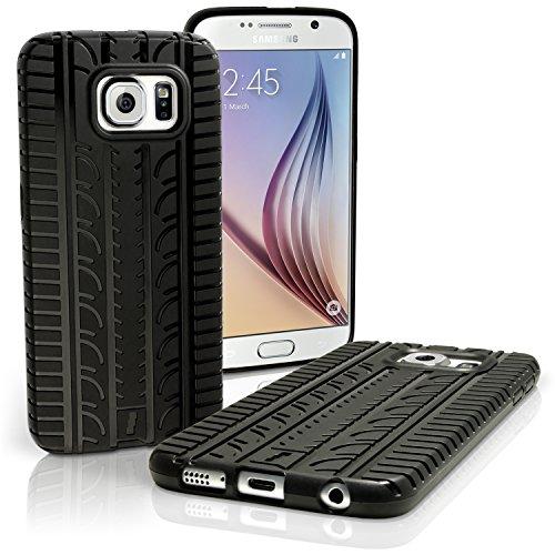 igadgitz U3892 Pneumatico Custodia Silicone per Samsung Galaxy S6 SM-G920 Gomma Cover con Pellicola - Nero