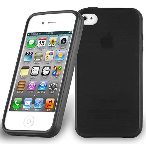 Apple iPhone 4 / iPhone 4S Silikonhülle in SCHWARZ von Cadorabo - TPU Schutzhülle für iPhone 4 / iPhone 4S Edelstahloptik gebürstet BRUSHED Design – Handyhülle Bumper Case Backcover in SCHWARZ Klar Bumper Iphone 4s Hülle