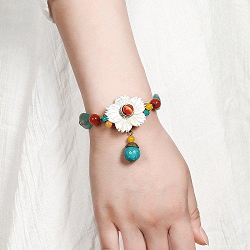 JZHJJ einfaches und stilvolles klassisches Armband Ethnische Wind Armband Retro Jade Shell Blume Armband Dekoration Design original antike Hand Schmuck weiblich beinhaltet: Armband Nobilis-shell