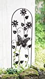 Aufwändig gestaltetes Metall-Rankgitter 'Butterfly' in trendy Rost-Optik