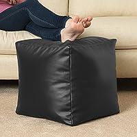 Bean Bag Bazaar - Puf para reposar los pies, piel sintética, diseño de cubo, color negro
