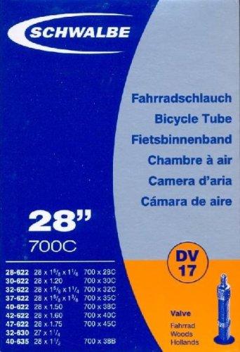 """SCHWALBE Fahrradschlauch DV17 mit Blitzventil ~ 28"""" ~ 47-622 mm (28 x 1.75 Zoll)"""