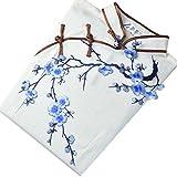Souarts 3d Pflaumenblüte Sticke Applikation Stickerei Aufnäher für Kleider Cheongsam chinesisches Etuikleid Abendkleid Applique Blau