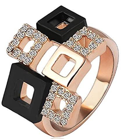 SaySure - Crystal Rings Rose Gold/Silver Plated Austrian (SIZE : 5.5)