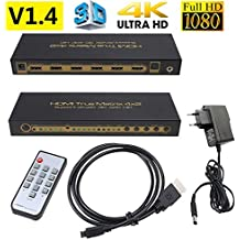 HDMI Matrix 4 In 2 Out Full HD Switcher,4Kx2K 3D 4x2 UHD 1080P HDMI Hub, formato digitale: DTS HD/Dolby True HD/LPCM7.1/DTS/Dolby AC3/DSD 3.5mm Jack