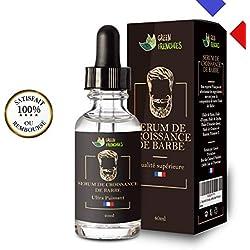 G.F. Serum Croissance Barbe, Huile à Barbe, Huile hydratante pour Barbe, Huile de Ricin naturelle, Expert français