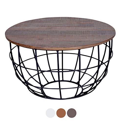 casamia Couchtisch Wohnzimmer-Tisch rund Lexington ø 80 cm, Metall-Gestell Altsilber oder schwarz Farbe braun - Bassano - Couchtisch Alt