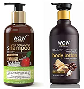 WOW Apple Cider Vinegar No Parabens & Sulphate Shampoo, 300mL And WOW Shea Butter and Cocoa Butter Moisturizing Body Lotion, Deep Hydration, 300ml