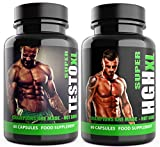 SUPER TESTO XL & SUPER HGH XL Black Edition – 1 Month Supply – Tribulus Terrestris, L Arginine, Amino Acid, Testosterone Support – Sports Nutrition Supplements for Men by Natural Answers