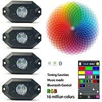 Kail 9W 4Pods Multicolore Neon LED kit d'éclairage LED RVB lumières de roche avec contrôleur Bluetooth synchronisation Fonction Mode Musique