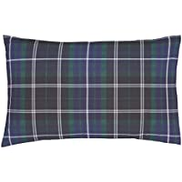 Catherine Lansfield Brushed Tartan Check Cotton Housewife Pillowcase Pair Navy