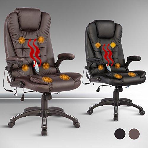 UEnjoy Massage-Bürostuhl mit Heizung 6-Punkt-Massagesessel Relax Sessel Drehstuhl Chefsessel aus Kunstleder Braun