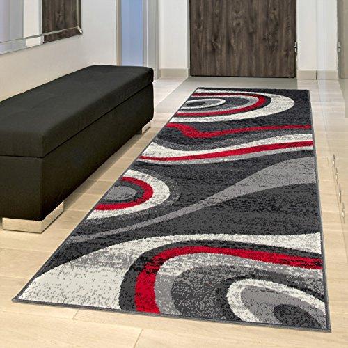 TAPISO Alfombra De Pasillo Moderna Fina - Color Gris Rojo Diseño Abstacto Ondulado - Colección Fiesta 100 x 200 cm