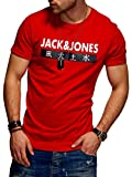 JACK & JONES Herren T-Shirt Kurzarmshirt Top Print Shirt Casual Basic O-Neck (X-Large, Tango Red)