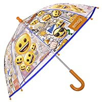 Emoji Kids Transparent Umbrella - Stick Dome Brolly for Boys and Girls - Windproof and Resistant - Safety Opening - 3 to 6 Years - Diameter 64 cm - Perletti