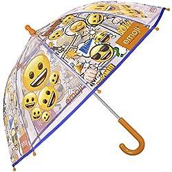 Paraguas Emoji de Niño y Niña con Paraguas Emoji de Niño y Niña - Paraguas transparente de burbuja largo resistente y antiviento - Apertura de seguridad - 3-6 Años - Diámetro 64 cm - Perletti