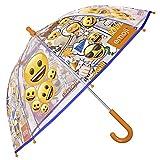 Kinder Schirm Emoji für Mädchen und Jungen - Stockschirm mit Emoticons - Robuster und windfester Regenschirm mit Transparenter Kuppel - 3 bis 6 Jahre - 64 cm Durchmesser - Perletti
