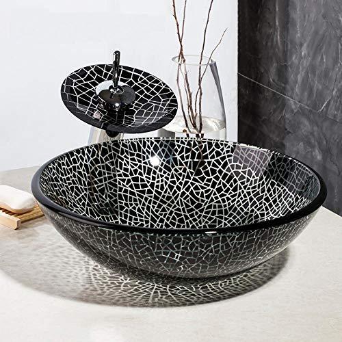 Lavandino del bagno in vetro temperato bianco e nero Lavello + Set di rubinetti in bronzo lucidato a olio a cascata