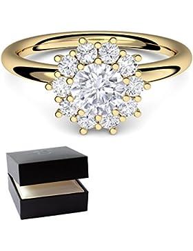 Gold Ring Verlobungsringe Gelbgold vergoldet von AMOONIC mit SWAROVSKI Zirkonia Stein +LUXUSETUI! Goldring Ring...