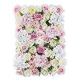 LOVIVER Künstliche Blumen Seidenblume Kunstblumen Girlande DIY Hochzeits Garten Deko - Rosa Weiß mit Blättern