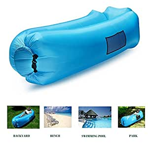 """""""2017 Nuovo design --- con cuscino *** - Divano letto gonfiabile impermeabile all'aria aperta Divano letto Compressione portatile per campeggio, spiaggia, parco, cortile - bBu"""
