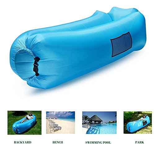 Inflatable Lounger Sofa -Portable Chair Air Beds Sleeping Couch,Tear-resistant lattice cloth include Pocke Waterproof Collapsible for Beanbag for Camping ,Lounging, Summer,Beach, Fishing (blue)