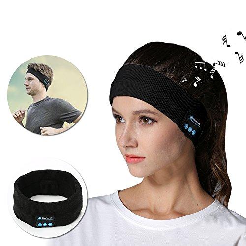 less Bluetooth Stirnband Stirnbänder Schweißband mit Headset Kopfhörer Freisprecheinrichtungen Musik Jogging Stirnband Headwrap Cap mit eingebauter Speakder für Outdoor Sport Übung Traning (Schwarz) Kompatibel für iPhone X / 8 / 8 plus 7 / 7 Plus / 6 / 6 Plus / 6S / 6S Plus / 5S / 5C / 5 / SE ,Samsung S7 edge/S8/J5/J3/J7/a5/a3/Huawei P8 lite/P10 lite/P9 Lite/Nova young/Y6 pro/Mate 10 lite/P10 Schwarz (Clevere Kostüme Für Mädchen)