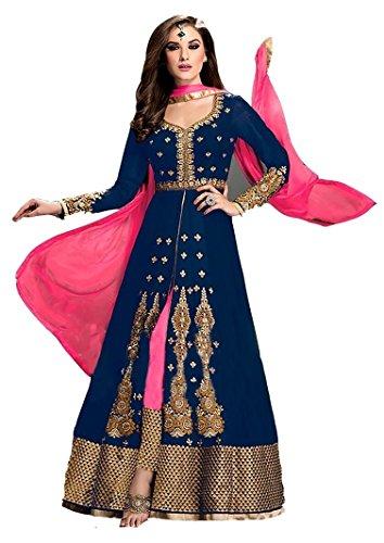 Mordenfab Designer Blue Suits for Women Indo-Western for Party Wedding Wear Floor...