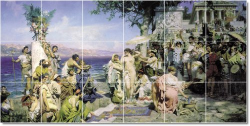 DISEñO CONTEMPORANEO HENRYK SIEMIRADZKI HISTORICA AZULEJO EN CONSTRUCCION  36 X 182 88 CM CON (18) 12 X 12 AZULEJOS DE CERAMICA